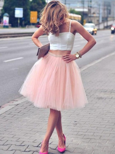 A-Line Tulle Pleats Spaghetti Straps Knee-Length Two Piece Homecoming Dresses