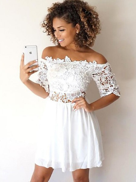 A-Line Chiffon Applique Off-the-Shoulder Short/Mini Homecoming Dresses