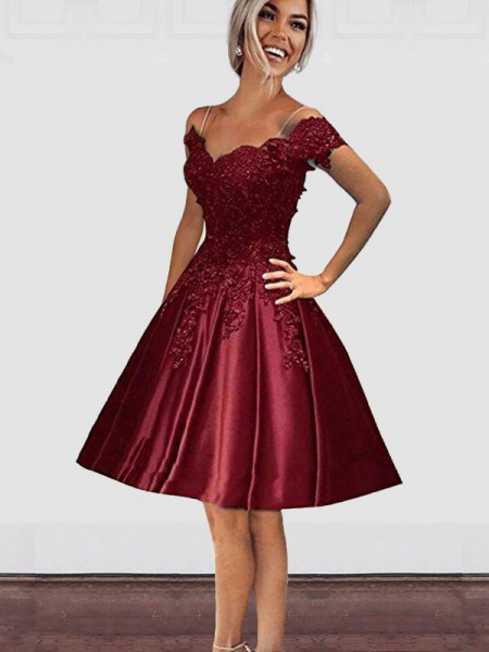 Off-the-Shoulder Cut Short With Applique Satin Burgundy A-Line Homecoming Dresses