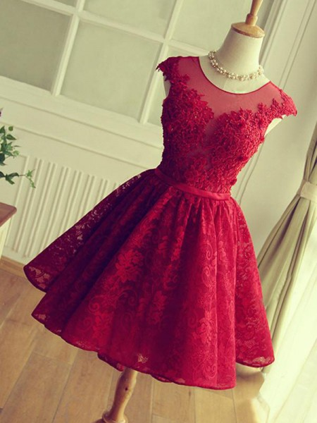 Jewel Cut Short With Applique Lace Red A-Line Homecoming Dresses