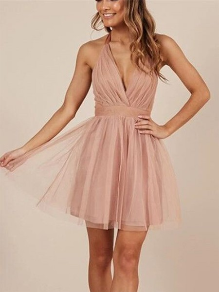 A-Line Halter Tulle Ruffles Short/Mini Homecoming Dresses