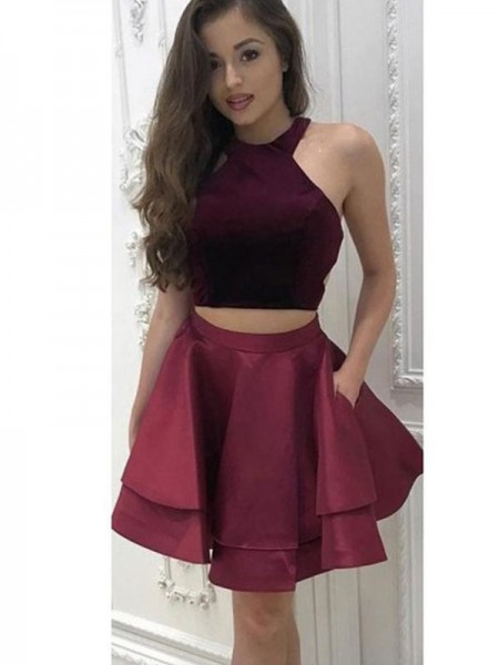 A-Line Halter Satin Ruffles Two Piece Short/MiniHomecoming Dresses