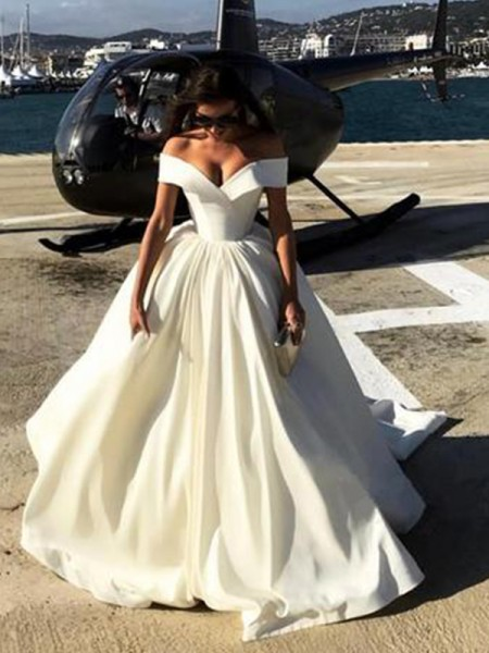 Off-the-Shoulder Court Train Satin Ball Gown Wedding Dresses