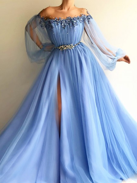 A-Line Off-the-Shoulder Tulle Beading Floor-Length Prom Dresses