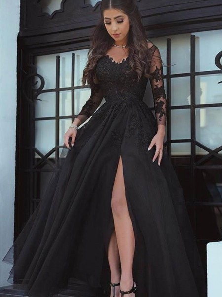 Off-the-Shoulder Floor-Length Lace Applique Ball Gown Prom Dresses