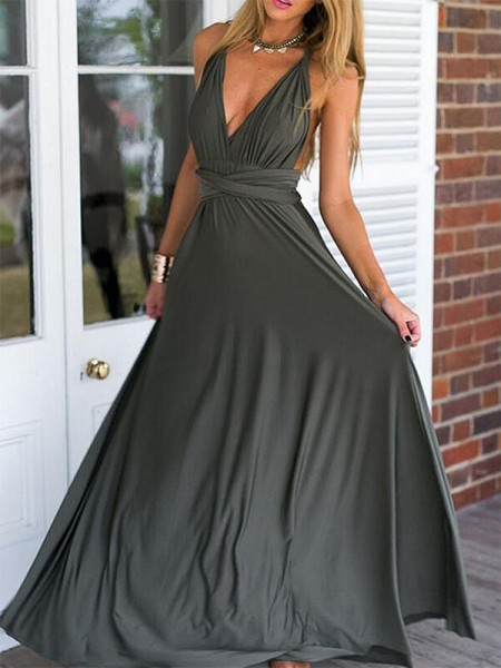 V-neck Floor-Length Ruched Empire Chiffon Prom Dresses