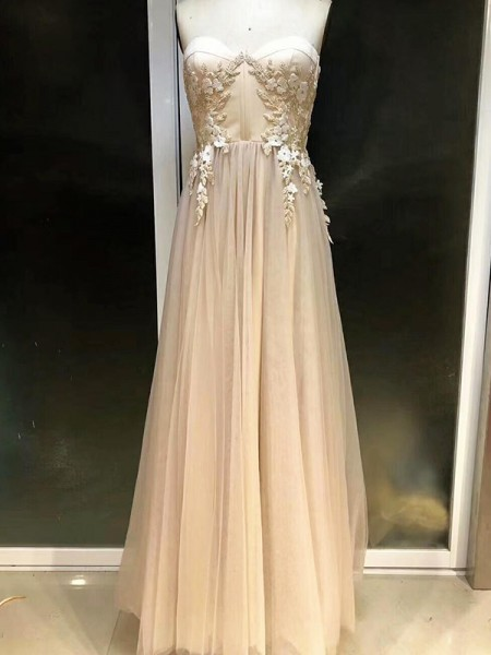 Empire Sweetheart Floor-Length Champagne Tulle Prom Dresses
