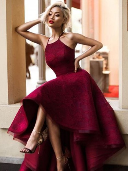 A-Line Jewel Asymmetrical Burgundy Ruffles Lace Prom Dresses