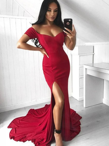 Mermaid Red Court Train Ruffles Spandex Prom Dresses