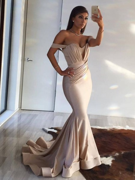 Mermaid Off-the-Shoulder Brush Train Champagne Spandex Prom Dresses