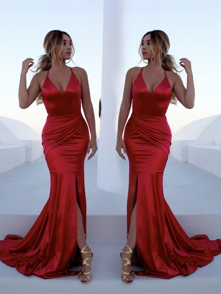 Trumpet/Mermaid Sleeveless Halter Sweep/Brush Train Ruffles Satin Dresses