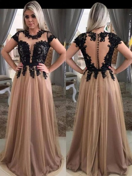 A-Line/Princess Short Sleeves Scoop Sweep/Brush Train Applique Tulle Dresses