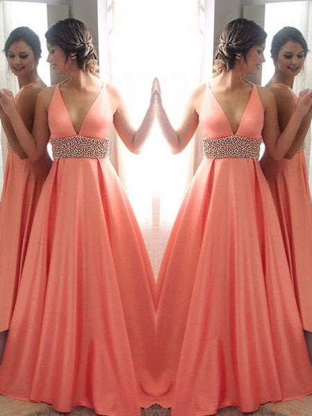 A-Line/Princess Sleeveless V-neck Sweep/Brush Train Beading Satin Dresses