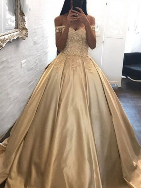 Ball Gown Off-the-Shoulder Sleeveless Sweep/Brush Train Applique Satin Dresses