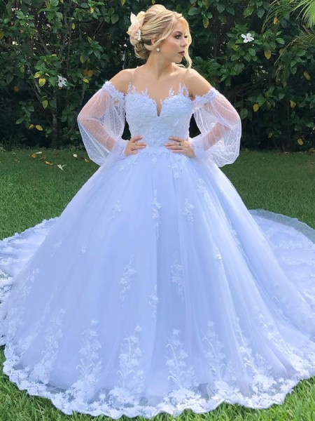 Ball Gown Off-the-Shoulder Long Sleeves Applique Tulle Court Train Wedding Dresses