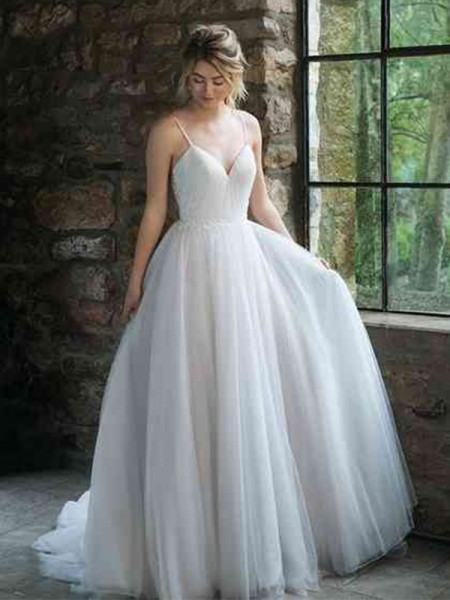 A-Line/Princess Tulle Ruffles Spaghetti Straps Sweep/Brush Train Sleeveless Wedding Dresses