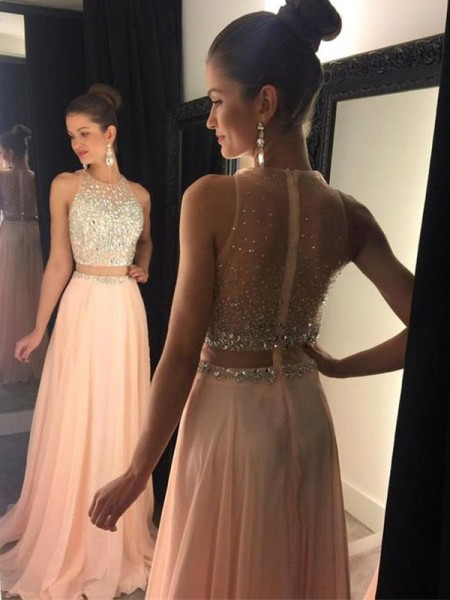 A-Line Scoop Beading Sweep/Brush Train Chiffon Prom Dresses
