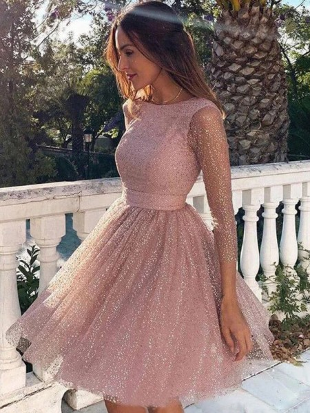 A-Line/Princess Sequins Ruffles 3/4 Sleeves Scoop Short/Mini Homecoming Dresses