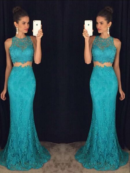 Sheath Scoop Floor-Length Lace Prom Dresses