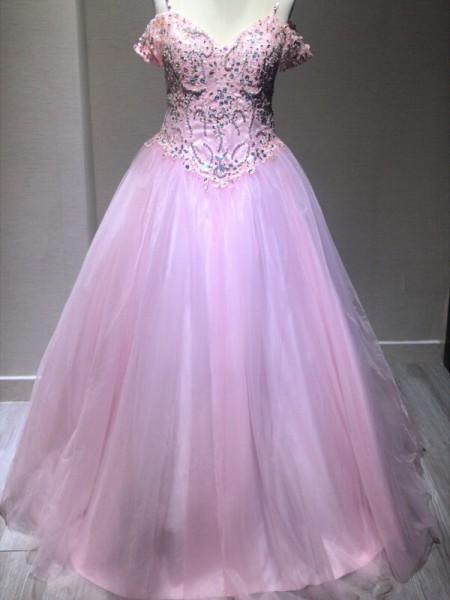 Spaghetti Straps Tulle Crystal Floor-Length Ball Gown Prom Dresses