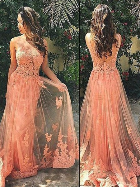 A-Line Straps Tulle Sweep/Brush Train Applique Prom Dresses