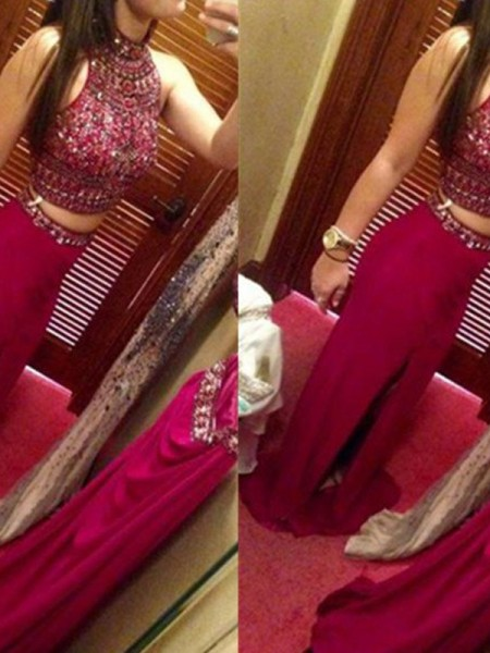 Sheath Jewel Floor-Length Beading Chiffon Two Piece Prom Dresses