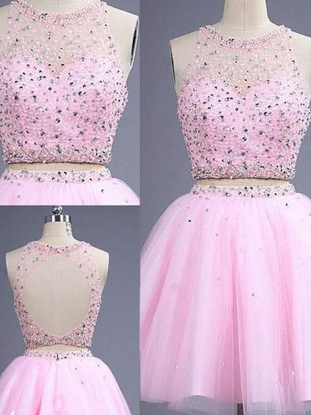 A-Line Scoop Short/Mini Beading Tulle Two Piece Prom Dresses