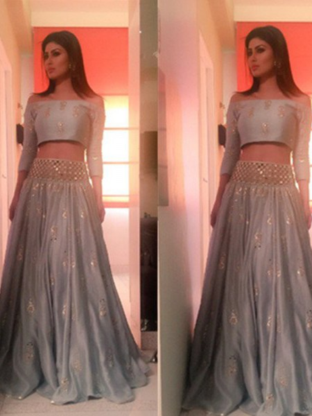 A-Line Off-the-Shoulder Floor-Length Beading Satin Two Piece Prom Dresses