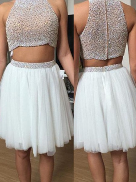 A-Line High Neck Tulle Beading Short/Mini Two Piece Prom Dresses