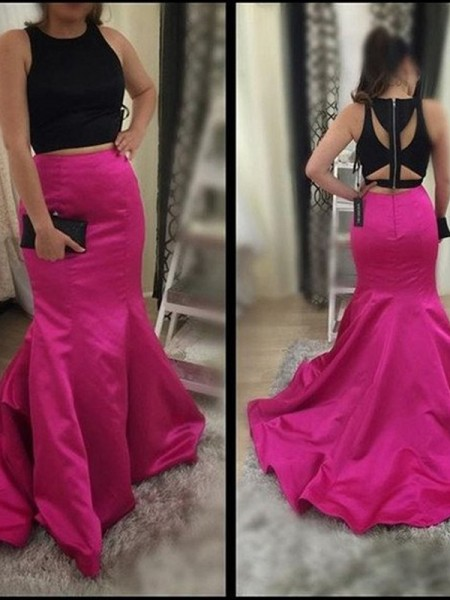Mermaid Scoop Sweep/Brush Train Satin Two Piece Prom Dresses
