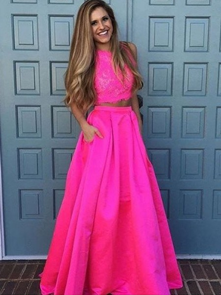A-Line Scoop Floor-Length Lace Satin Two Piece Prom Dresses