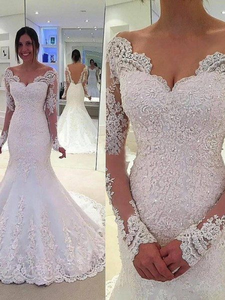 Mermaid V-neck Lace Court Train Tulle Wedding Dresses