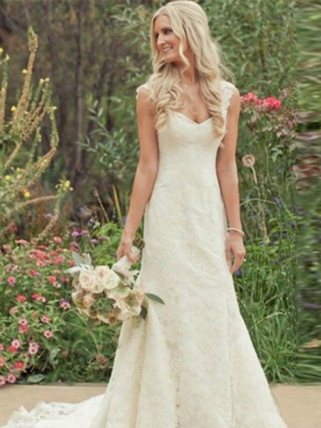 Mermaid Sweep/Brush Train V-neck Lace Wedding Dresses