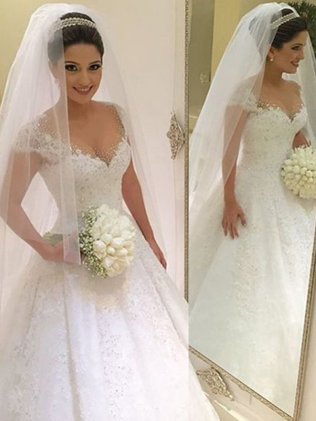 V-neck Beading Floor-Length Tulle Ball Gown Wedding Dresses