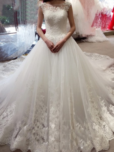 Bateau Applique Chapel Train Tulle Ball Gown Wedding Dresses
