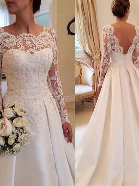 Scoop Lace Court Train Satin Ball Gown Wedding Dresses
