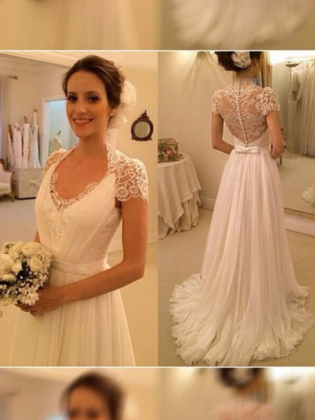 A-Line V-neck Sweep/Brush Train Lace Chiffon Wedding Dresses
