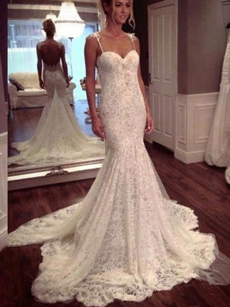 Mermaid Court Train Spaghetti Straps Lace Wedding Dresses