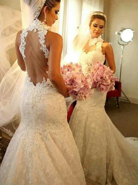 Mermaid High Neck Lace Court Train Wedding Dresses