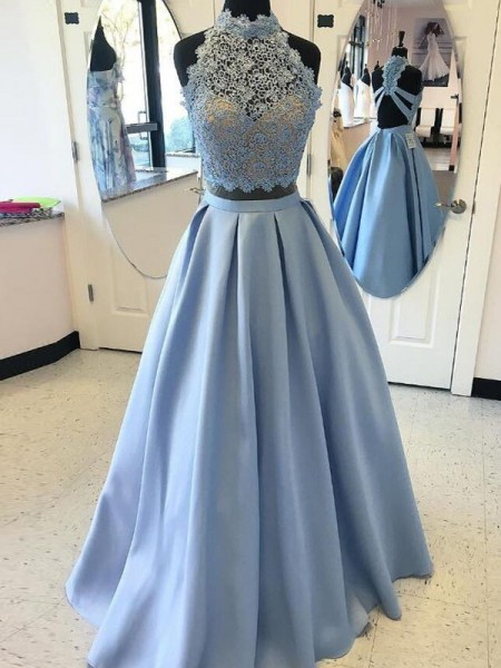 High Neck Floor-Length Applique Satin Ball Gown Two Piece Prom Dresses
