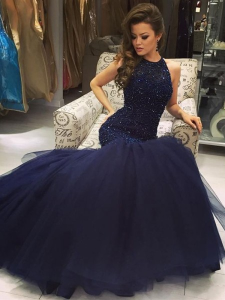 Mermaid Floor-Length Jewel Tulle Beading Prom Dresses