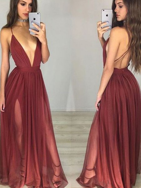 A-Line Spaghetti Straps Chiffon Floor-Length Ruched Prom Dresses