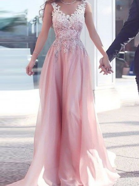 A-Line Sweetheart Floor-Length Applique Chiffon Prom Dresses