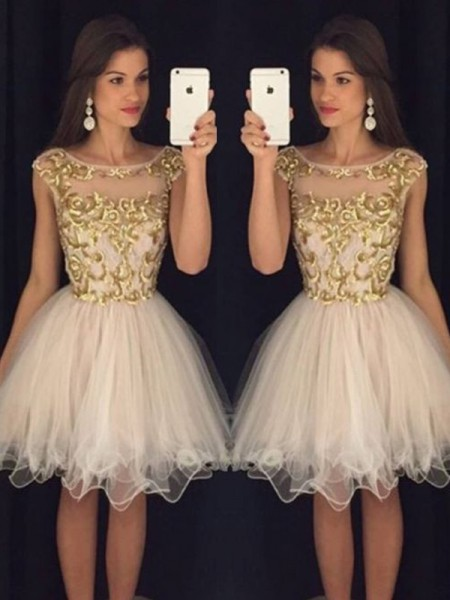A-Line Scoop Paillette Tulle Short/Mini Homecoming Dresses