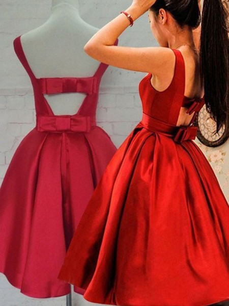 A-Line Scoop Sash/Ribbon/Belt Satin Short/Mini Homecoming Dresses