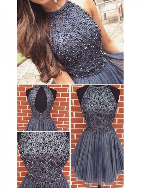 A-Line Scoop Beading Tulle Short/Mini Homecoming Dresses