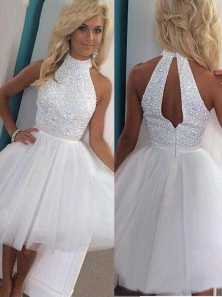 A-Line Halter Beading Tulle Short/Mini Homecoming Dresses