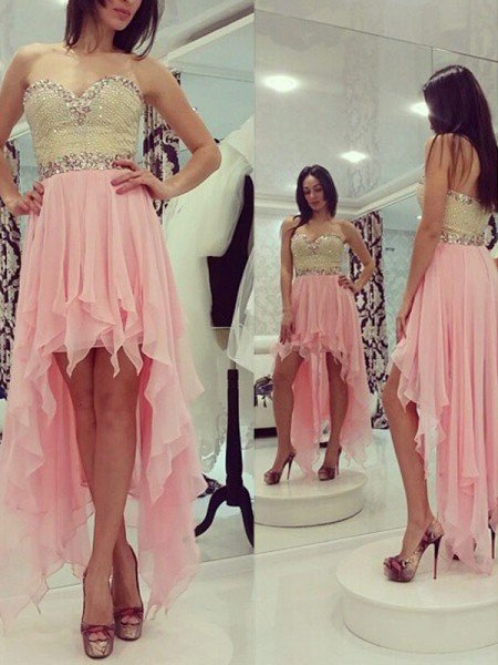 A-Line Sweetheart Beading Chiffon Asymmetrical Homecoming Dresses