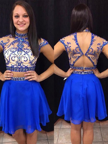 A-Line High Neck Beading Chiffon Short/Mini Two Piece Homecoming Dresses