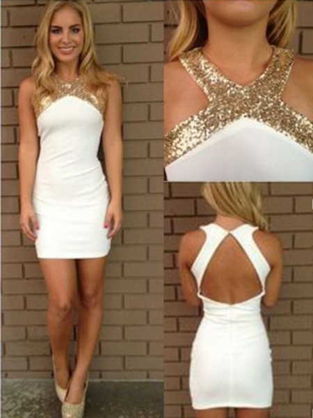 A-Line Halter Beading Satin Short/Mini Homecoming Dresses